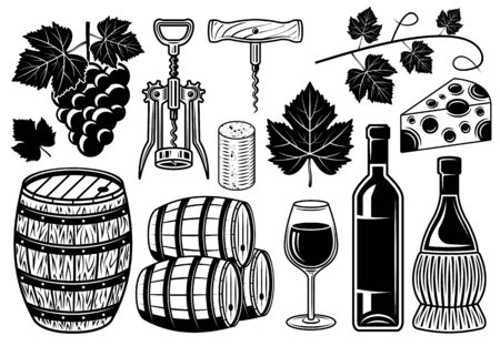 Wine and winery set of vector objects or design elements in black and white vintage style isolated illustration Stock Illustratie