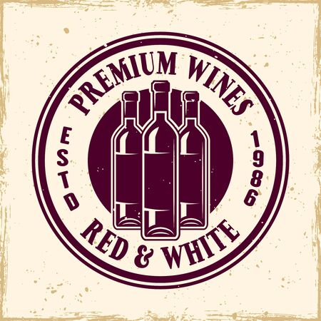 Wine shop vector colored round emblem, label, badge  in vintage style with bottles