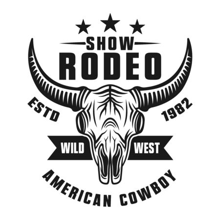 Rodeo show vector monochrome emblem, badge, label,  apparel design isolated on white background Stock Illustratie