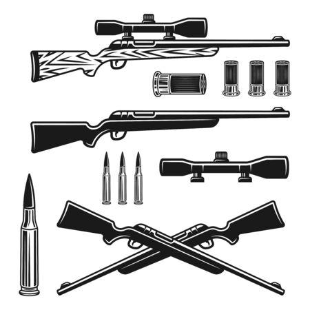 Conjunto de armas de caza de objetos vectoriales o elementos de diseño en estilo vintage monocromo aislado sobre fondo blanco.