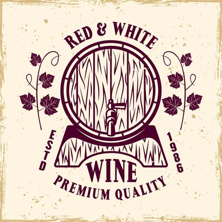 Wine barrel vector colored emblem, label, badge  in vintage style on background with removable grunge textures Stock Illustratie