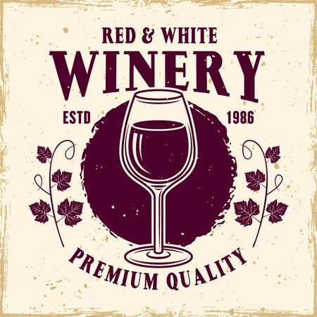 Wineglass vector colored emblem, label, badge   in vintage style for wine shop