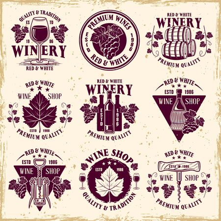 Wine shop and winery set of nine vector colored emblems, labels, badges   in vintage style on background with removable textures