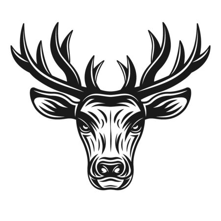 Deer head vector illustration in monochrome style isolated on white background