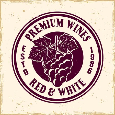 Wine shop vector colored round emblem, label, badge  in vintage style with bunch of grapes Stockfoto - 145120847
