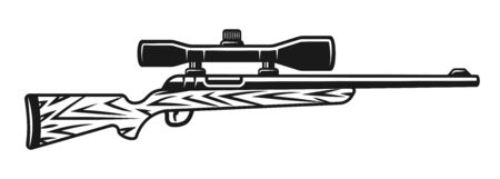 Hunting rifle with optic sight vector isolated object or design element in black and white vintage style Stock Illustratie