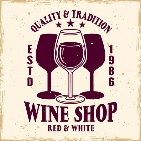 Wine shop vector colored emblem, label, badge   in vintage style with wine glass
