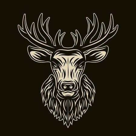 Deer head on dark background vector detailed illustration
