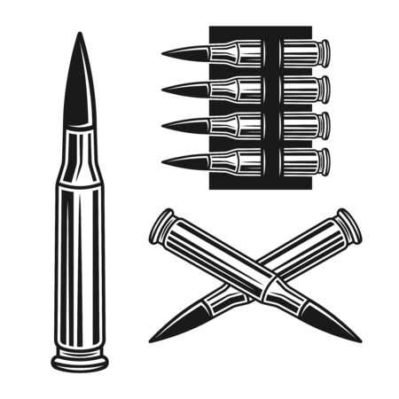 Bullet and bandolier set of vector objects or design elements in monochrome style isolated on white background