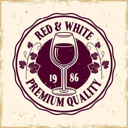 Wine shop vector colored round emblem, label, badge  in vintage style on background with removable grunge textures Stockfoto - 145120852