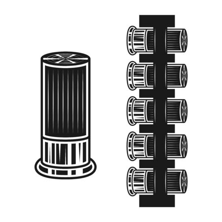 Bullets or hunting cartridges and bandolier set of vector objects or design elements in monochrome style isolated on white background