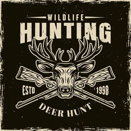 Hunting club vector light emblem, badge, label  with deer head and two crossed rifles on dark background with removable grunge textures