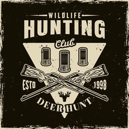 Hunting club vector light emblem, badge, label  on dark background with removable grunge textures