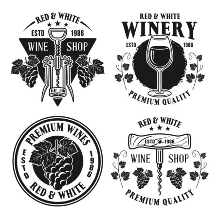 Wine shop set of vector monochrome emblems, labels, badges or logos in vintage style isolated on white background