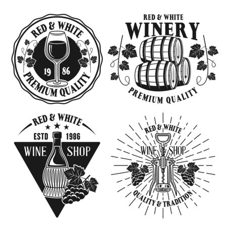 Wine and winery set of four vector isolated black and white emblems, labels, badges or logos in vintage style