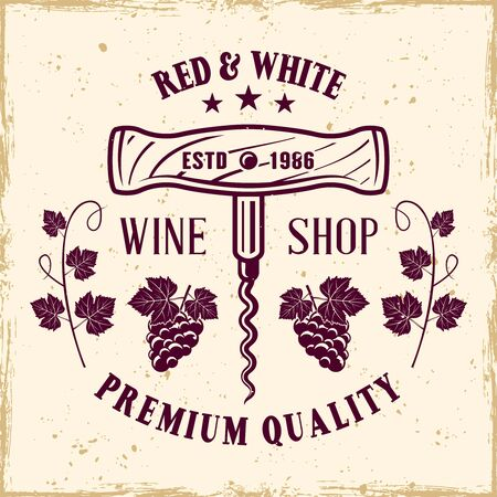 Corkscrew vector colored emblem, label, badge   in vintage style for wine shop on background with removable grunge textures