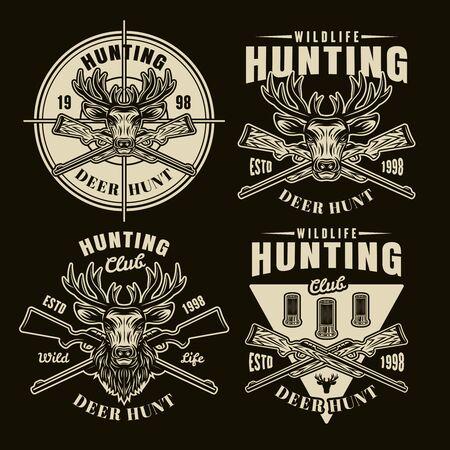 Hunting set of four vector light emblems, badges, labels  in vintage style on dark background Stock Illustratie