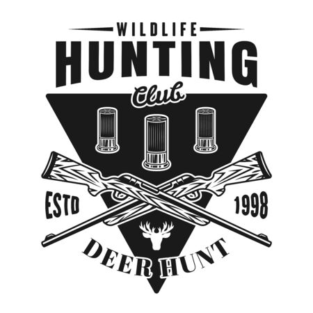 Hunting club vector emblem, badge, label   with two crossed rifles and bullets. Isolated monochrome illustration on white background