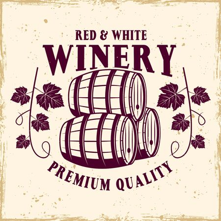 Winery vector colored emblem, label, badge   in vintage style with barrels