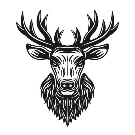 Deer head vector monochrome illustration, graphic object or design element isolated on white background Stock Illustratie