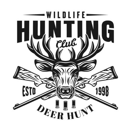 Deer head and rifles vector emblem, badge, label  for hunting club. Isolated monochrome illustration on white background