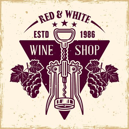 Wine vector colored emblem, label, badge  in vintage style with corkscrew Stock Illustratie