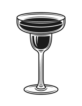 Margarita cocktail glass vector object or design element in monochrome style isolated on white background