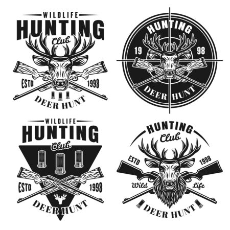 Deer hunt set of four vector hunting club emblems, badges, labels   in monochrome vintage style isolated on white background