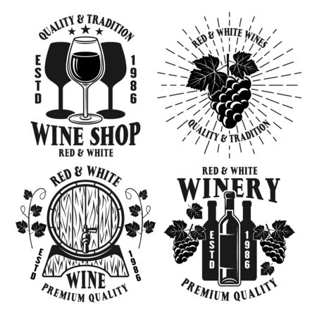 Wine shop and winery set of four vector monochrome emblems, labels, badges or logos in vintage style isolated on white background