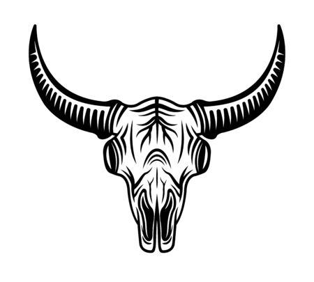 Bull skull head vector monochrome object or design element isolated on white background Stockfoto - 145121044