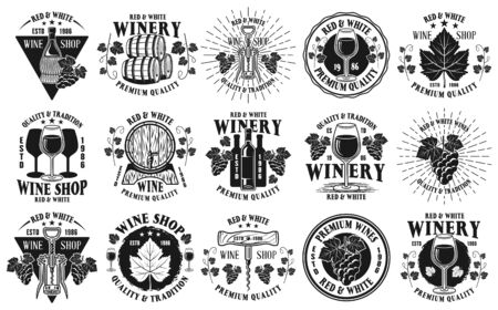 Wine shop and winery big set of fifteen vector monochrome emblems, labels, badges or logos in vintage style isolated on white background Stock Illustratie
