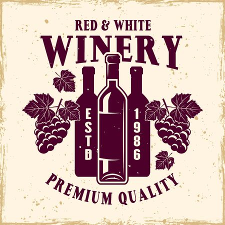 Winery vector colored emblem, label, badge  in vintage style with bottle and bunches of grapes