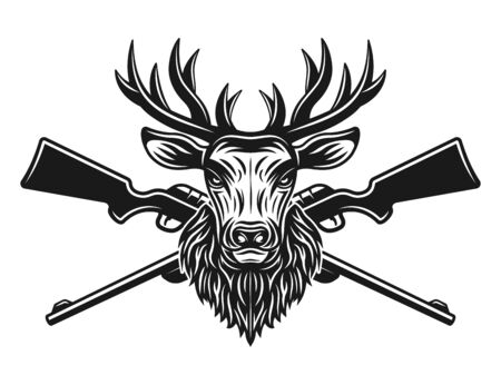 Deer head and two crossed rifles vector illustration in monochrome style isolated on white background
