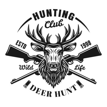 Hunting club vector emblem, badge, label  with deer head and two crossed rifles. Isolated monochrome illustration on white background