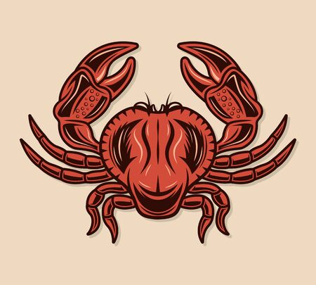Crab colored vector illustration in vintage style isolated on light background