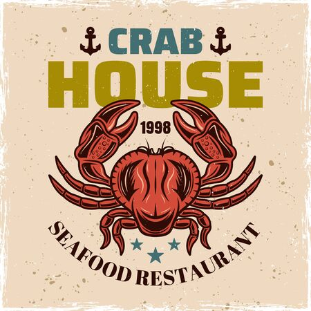 Red crab house vector colored typography emblem, badge, label or logo in vintage style for restaurant menu. Isolated illustration on background with removable grunge textures 일러스트