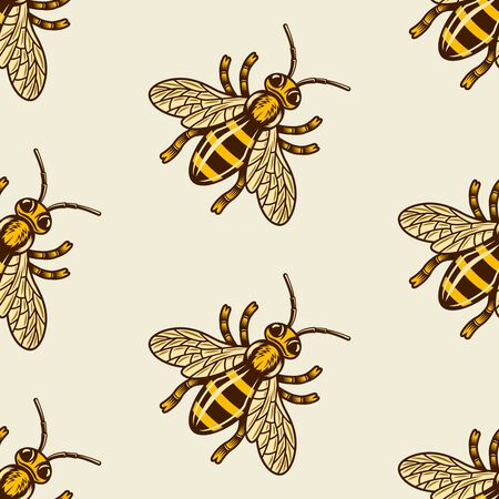 Honey bee vector colored seamless pattern on light background for decoration package and other things