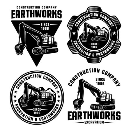 Excavator and earthworks set of four vector black emblems, badges, labels or logos for construction company isolated on white background Logo