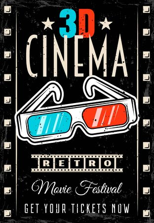 Cinema vector poster with 3d glasses in retro style. Movie festival flyer template with removable text and textures on separate layers Ilustración de vector
