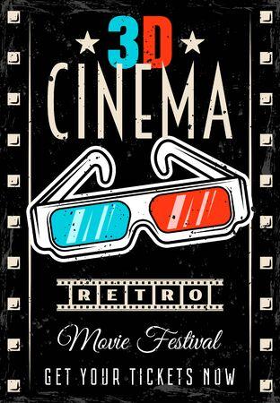 Affiche de vecteur de cinéma avec des lunettes 3d dans un style rétro. Modèle de flyer de festival de film avec texte et textures amovibles sur des calques séparés Vecteurs