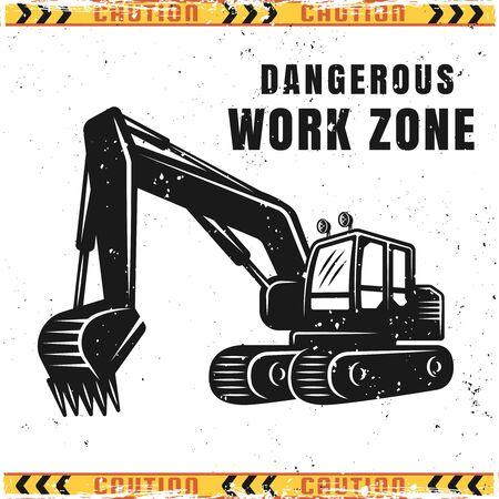 Excavator dangerous work zone vector caution illustration in vintage style Ilustração