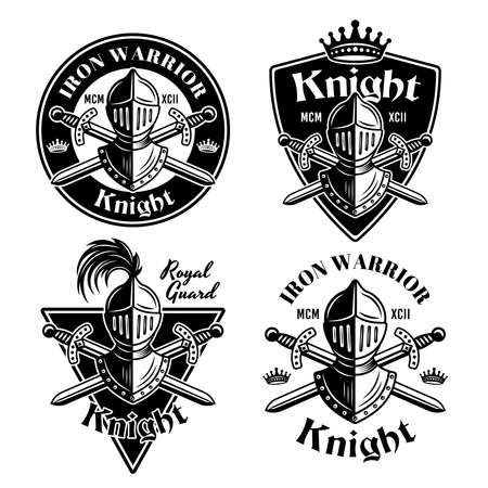 Knight set of four vector medieval thematic emblems, badges  in monochrome vintage style isolated on white background