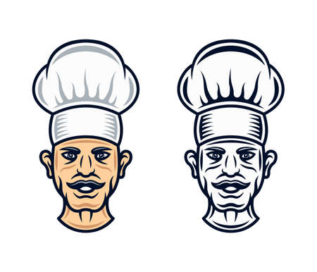 Cook head in two styles black and cartoon colored vector graphic objects isolated on white background