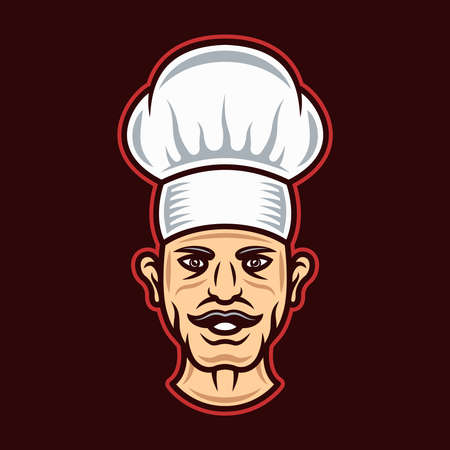 Chef head in hat cartoon colored style chef character vector illustration on dark background Illustration