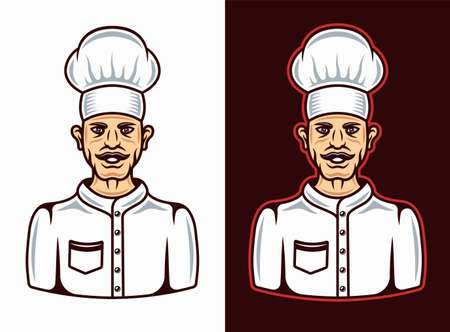 Cook cartoon character in two styles on white and on dark background vector illustration