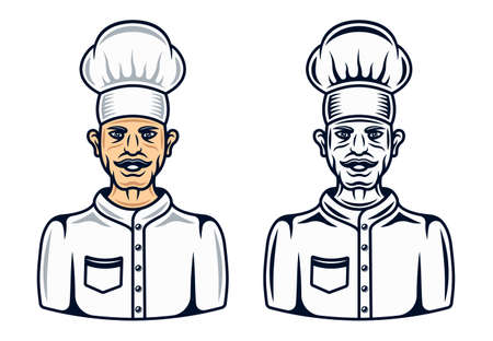 Cook character in two styles black and cartoon colored vector graphic objects or design elements isolated on white background