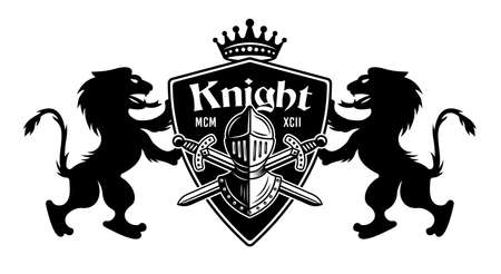 Lions holding shield with knight helmet and two crossed swords vector illustration. Royal crest in vintage monochrome style Illustration