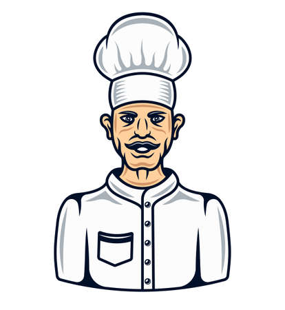 Cook in cartoon colored style chef character vector illustration isolated on white background