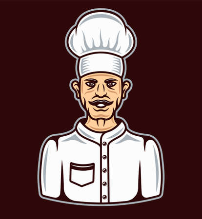 Chef in cartoon colored style character vector illustration on dark background Illustration