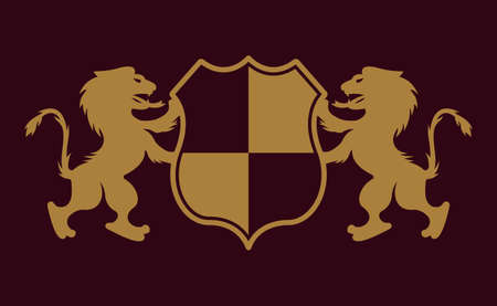 Royal crest two lions holding shield vector gold emblem, badge, label   on dark purple background Archivio Fotografico - 151330941